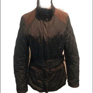 """ZARA BASIC"" Quilted Olive Green Belted Jacket."